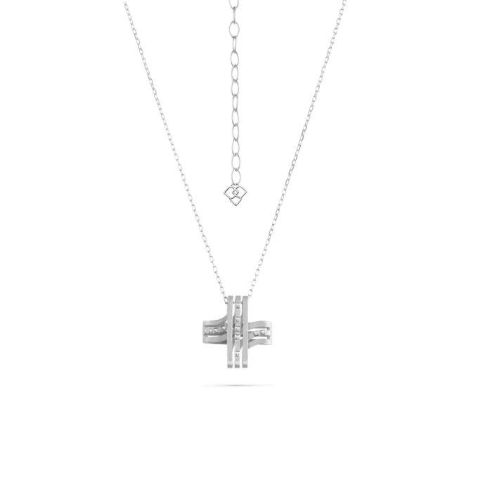 MATERjewellery tales LINES WhiteGold 18kt DiamondsCrossPendent 1698