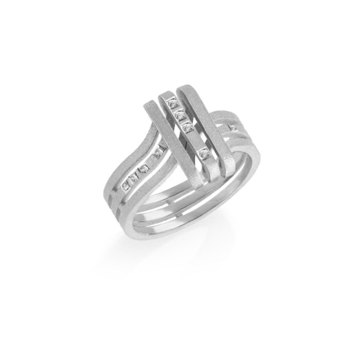 MATERjewellery tales LINES WhiteGold 18kt Diamonds Ring1501